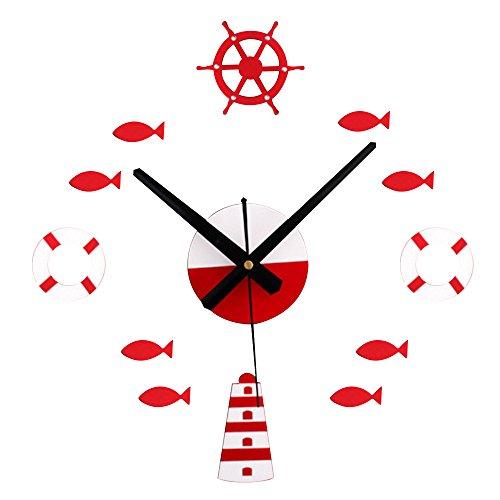 Happy Hours - Creative Mirror Wall Clocks / Mediterranean Sea Style Quartz Movement DIY Hanging Watch / Living Room Dial Acrylic Craft Home Decoration Sticker(Red)