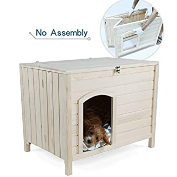 Image of Petsfit Portable Wooden Dog House, No Assemble Required Pet Supplies