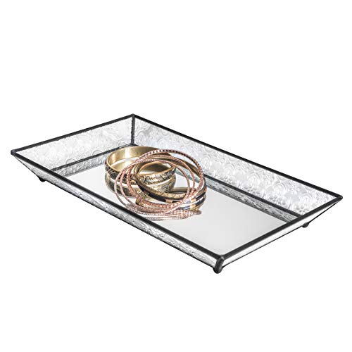 J Devlin Tra 114 Oblong Vintage Glass Jewelry Tray with Mirrored Bottom Vanity Organizer 5