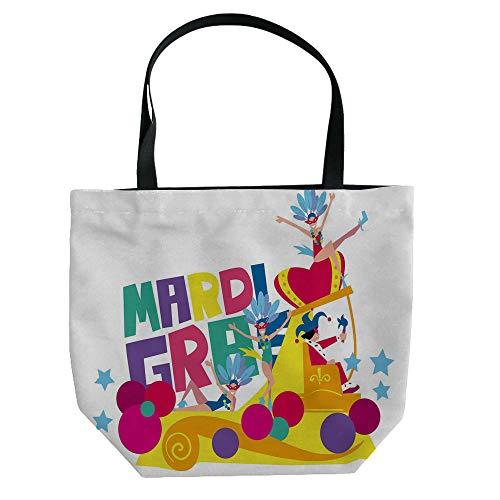 iPrint Handbag Canvas Shoulder Bag Leisure Fashion,Mardi Gras,Festive Decorations with Fleur De Lis Icons Hanging from Colorful Beads Decorative,Purple Green Yellow,Customizable Design.