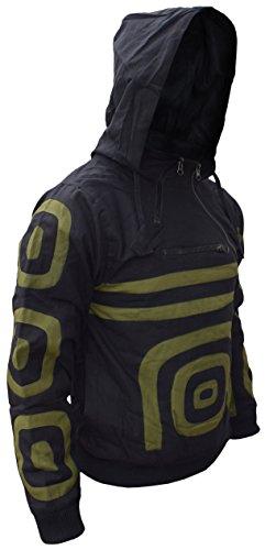 para invierno Nepal lateral Spiral algodón de cómodo Black polar hombres cremallera con capucha hombre forro Los sudadera cálido doble wC8SZnpq