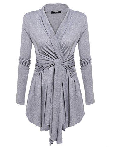 (Zeagoo Women's Shawl Collar Thick Solid Open Front Cardigan Grey)