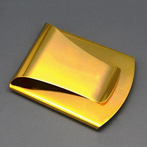 Steel Slim Multifunction Money Clip Credit Card Holder Wallet Golden - 1