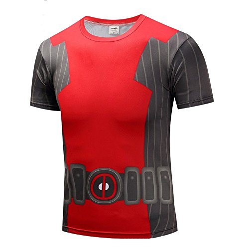 PKAWAY Men's Quick Dry Deadpool Graphic Tee Shirt Short Sleeve Costume Shirt 2XL -