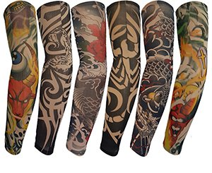 Kingree 6pcs Fake Temporary Tattoo Sleeves, Biker Inspired Body Art Arm Stockings with Most Popular Designs such as Tribal, Skull, Dragons, Tigers, Figures etc., (D -