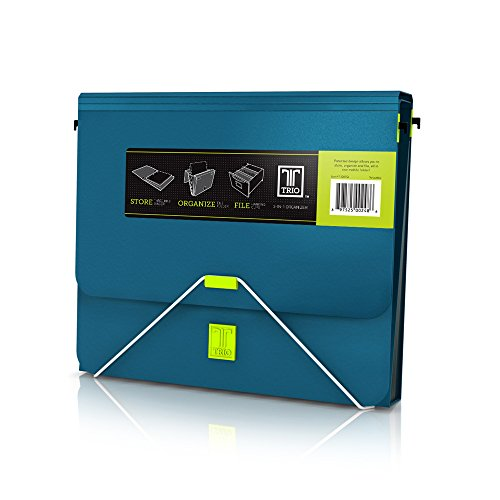 Samsill TRIO 3-in-1 Organizer, 1 Inch 3 Ring Binder + 7 Pocket Accordion Style Expanding File + Hanging File(Office & Tax Organizer), Turquoise