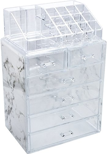 (Sorbus Luxe Marble Cosmetic Makeup and Jewelry Storage Case Display - Spacious Design - Great for Bathroom, Dresser, Vanity and Countertop (4 Large, 2 Small Drawers, Marble Print))