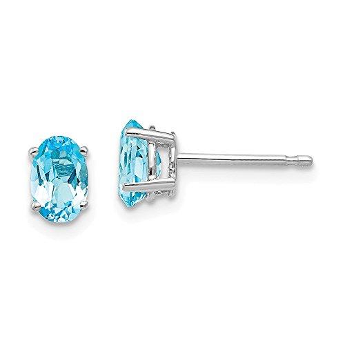 Mia Diamonds 14k White Gold 6x4mm Oval Blue Topaz Earrings