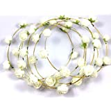 Evisha 6 pcs White Flowers Tiara Crown Headband Hairband Party Prop Set of 6 Tiara