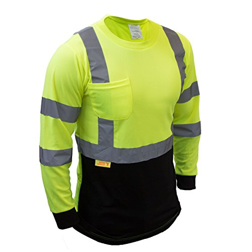 (Troy TSBFL8712 Class 3 High Visible Long Sleeve Black Bottom Safety T Shirts Moisture Wicking Mesh with 2 Inch Replective Tapes (Green, Extra Large) )