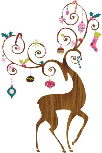 (RoomMates Ornamental Reindeer Peel and Stick Giant Wall Decals )