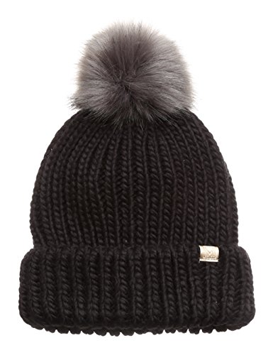 (MIRMARU Women's Winter Solid Ribbed Knitted Beanie Hat with Faux Fur Pom Pom (Black) )