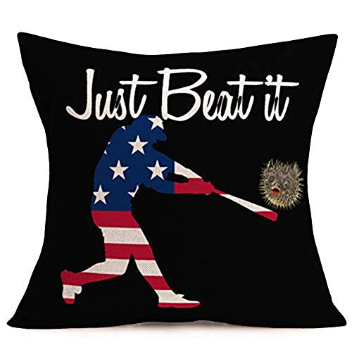 ShareJ USA Baseball Player Throw Pillow Covers Just Beat It 18x18 Inch Club Community Team Athlete Sport Decor Square Pillow Case Cushion Cover for Home Car Decorative Cotton Linen (Just Beat It)