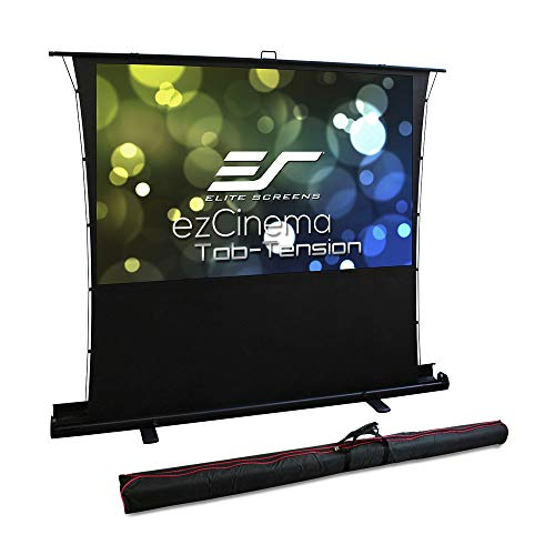 Elite Screens ezCinema Tab Tension, Manual Floor Pull Up with Scissor Back Projector Screen, 80-inch 16:9, Portable Home Theater Office Classroom Projection Screen with Carrying Bag, FT80XWH