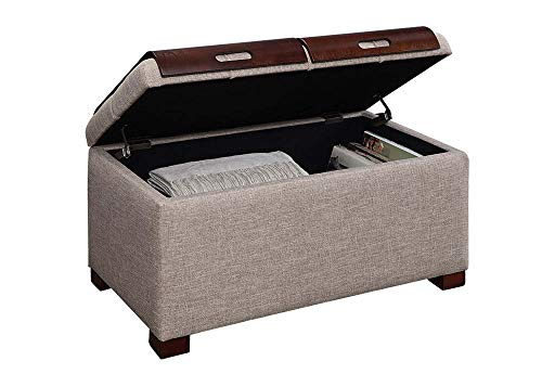 Convenience Concepts Designs4Comfort Storage Trays Ottoman, Tan Faux Linen