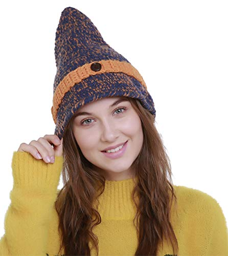 - Womens Long Pointy Winter Hat Handmade Knit Wool Button Beanie Cap Blue