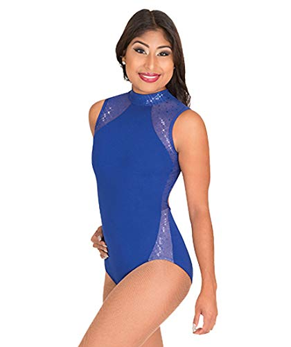 Girls Performance Twinkle Mesh Insert Tank Leotard,TW322ROYL,Royal,Large