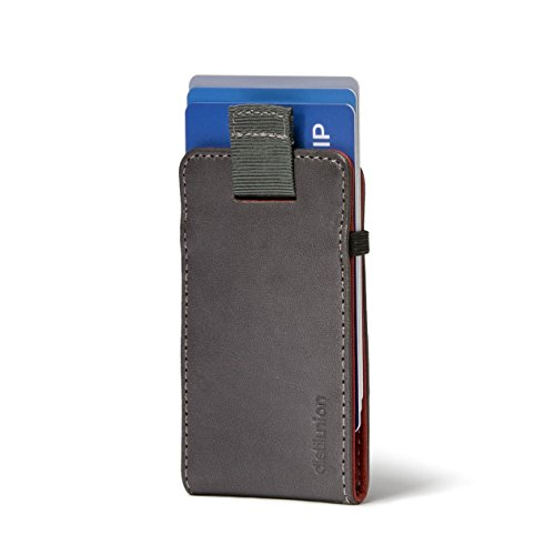 Distil Union Wally Micro Minimalist Leather Wallets for Men and Card Holder (Gray/Red)