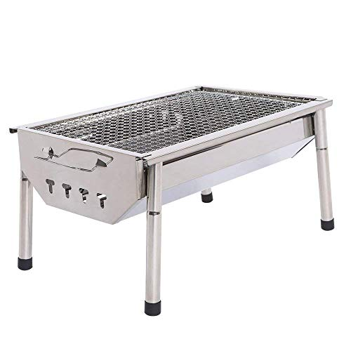 Chinashow Portable Thickened Outdoor Stainless Steel Folding Charcoal Picnic BBQ Grill Small Size