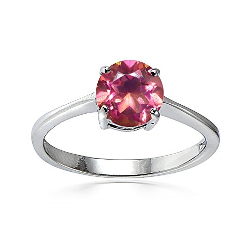Ice Gems Sterling Silver Treated Pink Topaz Round 6mm Solitaire Ring, Size 7
