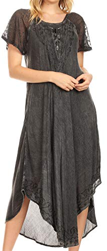 Sakkas 16603 - Egan Long Embroidered Caftan Dress/Cover Up with Embroidered Cap Sleeves - Grey - OS