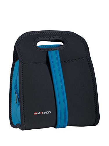 Mogingo Insulated Zippered Tote - Neoprene Lunch Cooler Bag with Dual Carrying Handle Options (Blue)