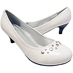 Simply Petals Girl's Pretty Party Patent Leather Heel Pump with Studs (1 Little Kids, White Patent)