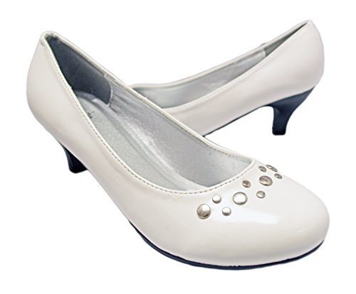 Simply Petals Girl's Pretty Party Patent Leather Heel Pump with Studs (12 Little Kids, White Patent)