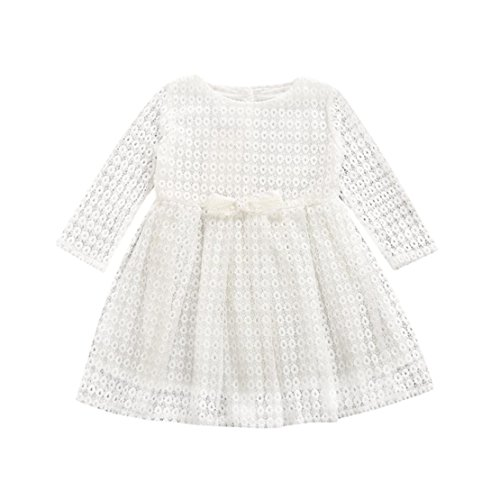 DORIC Toddler Girls Floral Lace Long Sleeve Princess Formal Dress Outfits