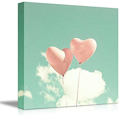 Canvas Prints Wall Art - Vintage Heart Shaped Balloons | Modern Wall Decor/Home Decoration Stretched Gallery Canvas Wrap Giclee Print. Ready to Hang - 24