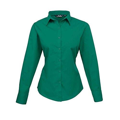 vert longues en manches femme Chemisier en Premier pour Emraude popeline q8wp1gIR