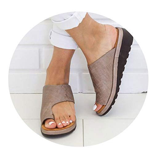 Slippers Flat Bottom Toe Sleeve Chaussures Platform Women Flip Flop Slippers Wedges Shoes Summer Zapatilla Bronze