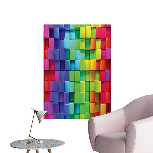 Anzhutwelve Colorful Wallpaper Rainbow Colored Contour Display Futuristic Block Brick-Like Geometric ArtisanMulticolor W24 xL32 Custom Poster ()