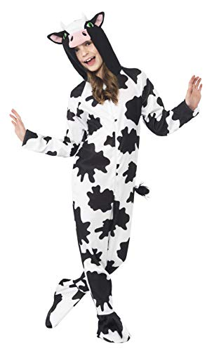 Smiffys Children's Unisex All In One Cow Costume, Jumpsuit with Tail and Ears, Party Animals, Color: Black and White, Ages 10-12, Size: Large, 27993 -