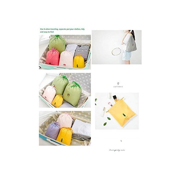 ① 3 tamaños: (41 x 37 cm)*2, (32 x 27 cm)*4, (24 x 21 cm)*2, como se muestra en la primera imagen. ② 8 bolsas de almacenamiento de viaje con cordón, material: fibra de nylon de Durbale. 100% garantía de satisfacción de calidad. Cierre: Cordón