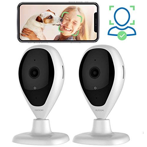 Dog Cameras, HUGOAI WiFi Pet Monitor 1080P Home Security Camera with Phone App with Speaker, Indoor Cameras with Facial Recognition, Motion Detection, Night Vision, 2-Way Audio for Pet Dog Cat