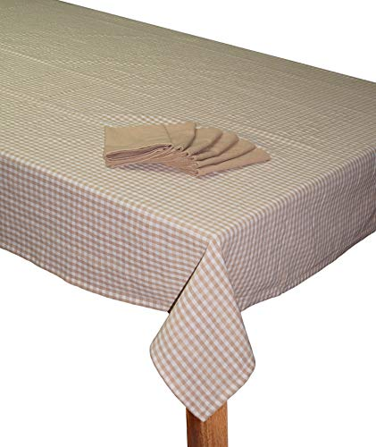 """Lushomes Biscuit Cotton Checks Dining Table Covers with Table Napkins  6 Seater, 60"""" x 90"""""""
