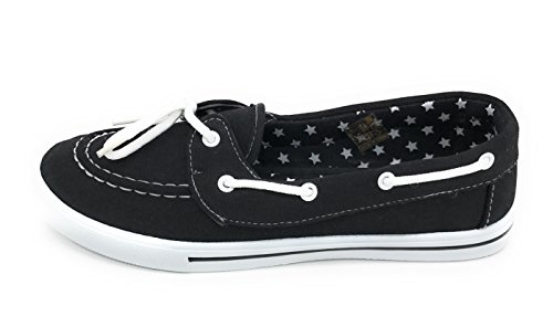 Boat Blue Comfy Slip Shoe Sneaker Round Canvas up Flat EASY21 Berry Toe Tennis On Black Lace 8xwrT8F