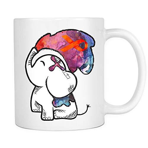 Multiple Sclerosis Awareness Watercolor Elephant Orange Ribbon MS awareness Coffee Mug Gifts for Women Men Elephant White Ceramic Coffee Tea Mug 11oz]()