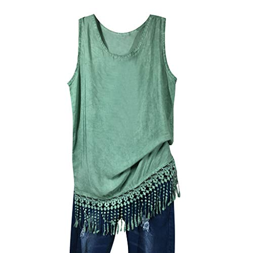 - HIRIRI Loose Shirts Women Fringe Sleeveless Solid Color Vest Girls O-Neck Casual Hem Tassel Blouse Green