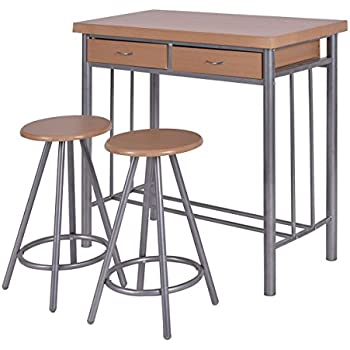 metal and wood dining set. giantex 3 piece metal wood dining set table and 2 chairs kitchen furniture o