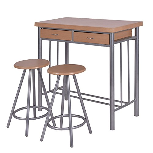 Giantex 3 Piece Metal Wood Dining Set Table and 2 Chairs Kitchen Furniture (Cheap Counter Height Dining Sets)