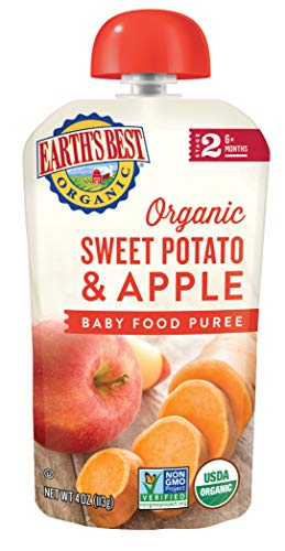 - Earth's Best Organic Stage 2, Sweet Potato & Apple, 4 Ounce Pouch (Pack of 12)