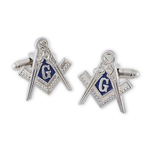 (Forge Masonic Compass Enamel Silver Cufflinks)