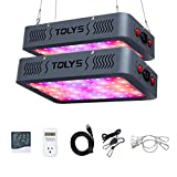 600W Plant Light, TOLYS 2-Packs LED Grow Light Double Chips Full Spectrum Grow