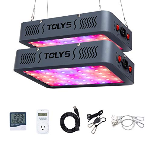 - 600W Plant Light, TOLYS 2-Packs LED Grow Light Double Chips Full Spectrum Grow Lamping for Indoor Plants Veg and Flower, with Thermometer Humidity Monitor and Timer (Grey)