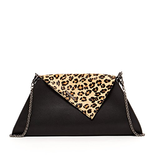 Leopard Clutch Black Evening Purses For Women Animal Print Clutches Purse Leather Crossbody Bags Designer Handbags Zipper Closure Cute Party Crossover Bag with Flap and Long Over The Shoulder Chain
