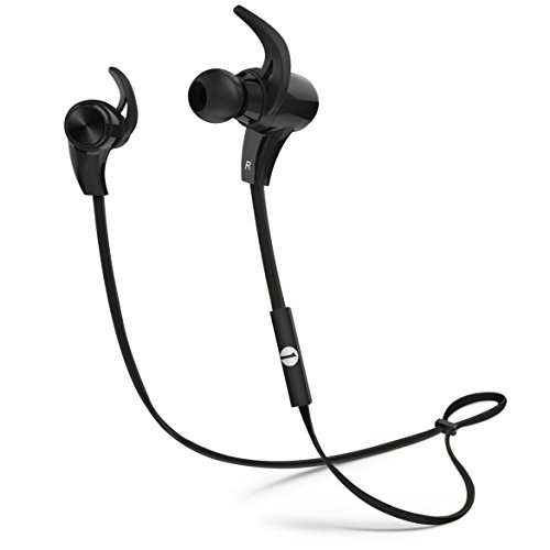 1byone Bluetooth In-Ear Sports Headphones, CVC Noice Isolation aptX Stereo Music Earphones with Built-in Microphone for Gym Running Workout 7 Hours Battery - Black