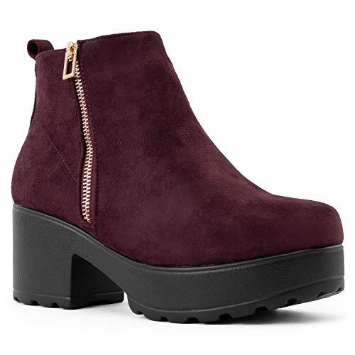 RF ROOM OF FASHION Women's Vegan Round Toe Light Weight Stacked Heel Platform Side Zipper Ankle Booties Boots Burgundy SU (Platform Fashion)