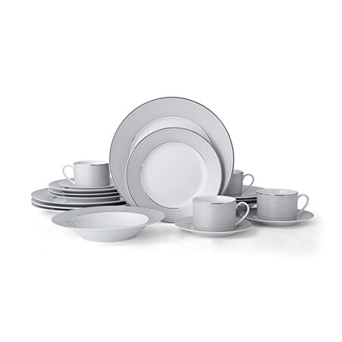 Mikasa 5228041 Percy 20-Piece Porcelain Dinnerware Set, Service for 4, Grey